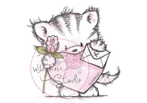 Wild Rose Studio`s A7 stamp set Elsie with Heart