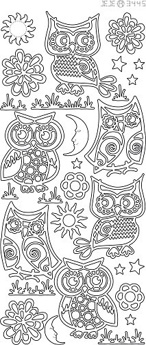 Sticker - Various owls - goud