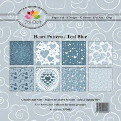 Dixi Paper Pack blue heart pattern