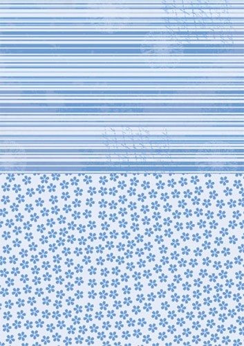 Doublesided background sheets A4 blue flowers