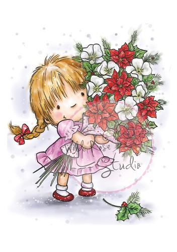 Wild Rose Studio`s A7 stamp set Girl with Xmas Bouquet