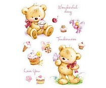 ScrapBerry`s Set Of Clear Stamps 14x18 cm My Little Bear With Cupcakes