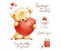 ScrapBerry`s Set Of Clear Stamps 10x11 cm My Little Bear Hearts For You