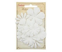 ScrapBerry`s Set Of Flowers From Mulberry Paper 10 pcs White