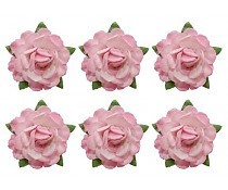 ScrapBerry`s Tea Roses` Flowers, Diameter 18 mm 6 pcs Pink & White