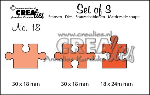 Crealies Set of 3 no. 18 puzzelstukjes