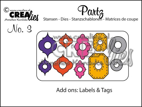 Crealies Partz no 3 Versiering labels & tags