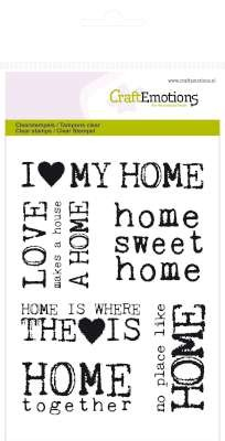 CraftEmotions clearstamps A6 - achtergrond home sweet home
