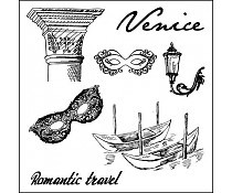 ScrapBerry`s Set Of Clear Stamps Discover Italy Venice