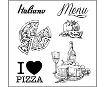 ScrapBerry`s Set Of Clear Stamps Discover Italy Menu