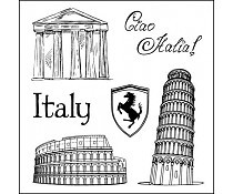 ScrapBerry`s Set Of Clear Stamps Discover Italy Italy
