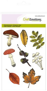 CraftEmotions clearstamps A6 - paddestoelen bladeren Autumn Woods