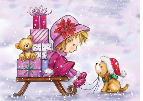 Wild Rose Studio`s A7 stamp set Girl on Sleigh