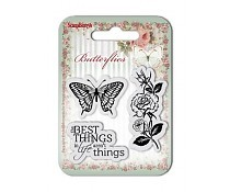 Set Of Clear Rubber Stamps 7x7 cm Butterflies No. 1