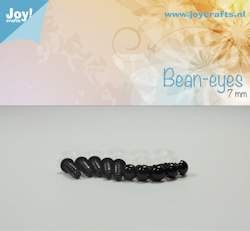 bean eye, black 7mm 10 pcs