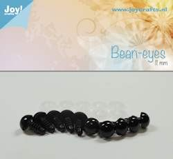 bean eye, black 11mm 10 pcs