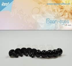 bean eye, black 14mm 10 pcs