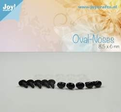 oval nose, black 8.5x6mm 10 pcs