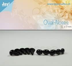 oval nose, black 12x9mm 10 pcs