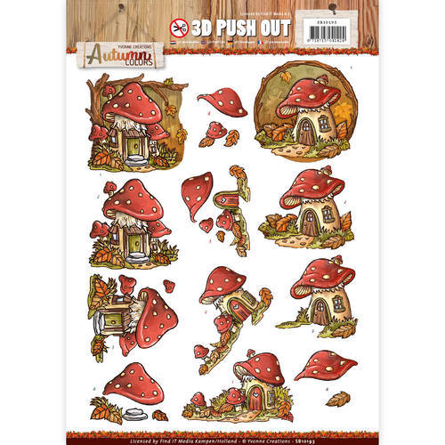 Pushout -Yvonne creations - Autumn Mushrooms Houses