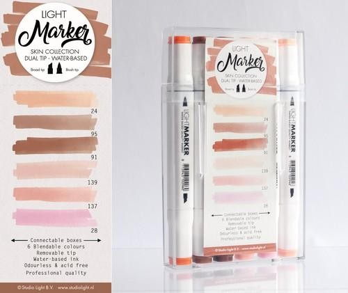 Studio Light Box 6 water based dual tip markers skin