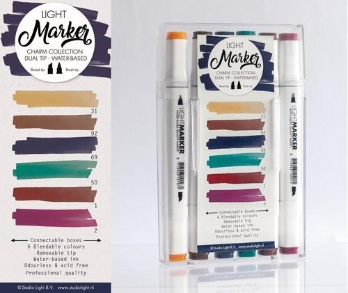 Studio Light Box 6 water based dual tip markers chique