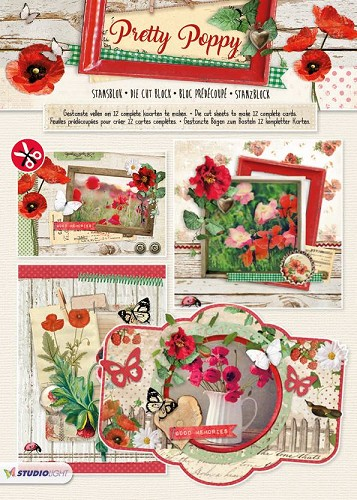 Stansblok A4, content 12 sheets die cut, Pretty Poppy nr.65