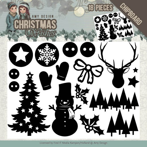 Chipboard - Amy Design - Christmas Wishes - afbeelding