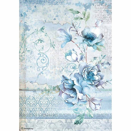 Stamperia Rice Paper A4 Blue Land Flower