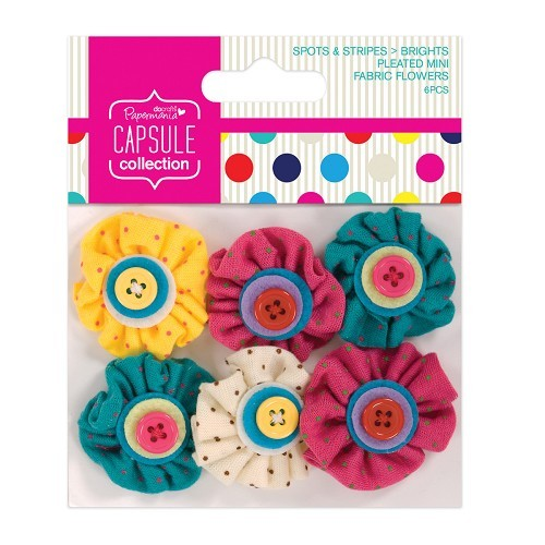 Mini Fabric Flowers (6pcs) - Spots & Stripes Brights