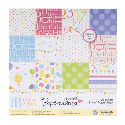 6x6 Paper Pack (inc 1 sheet tags) - Happy Birthday To You (25Pk)