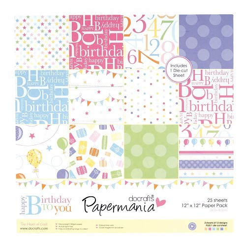 12x12 Paper Pack (inc 1 sheet tags) - Happy Birthday To You (25Pk)