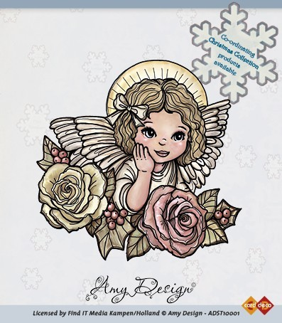 Clear Stamp - Angel with roses