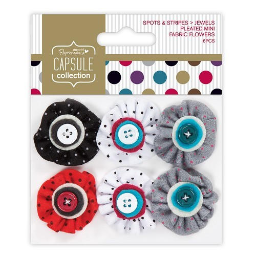 Pleated Mini Fabric Flowers (6pcs) - Capsule - Spots & Stripes Jewels