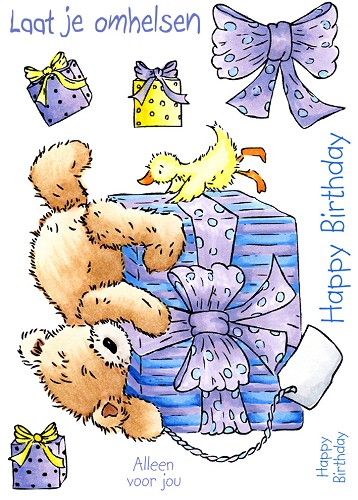 popcorn the bear - birthday hugs