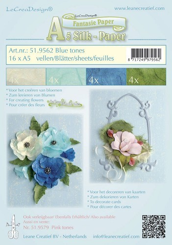 Silk paper assortiment blue tones 16 x A5